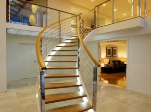 Curved balustrade in a residential property.